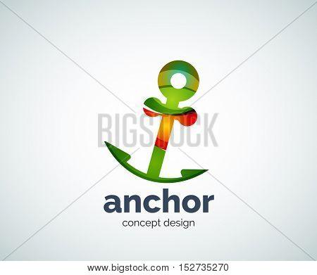 Vector ship anchor logo template, abstract business icon
