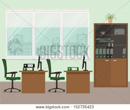 Office room in green color. Vector flat illustration. There is a tables, a chairs, case for documents and other objects in the picture