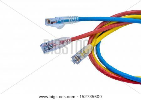 UTP cables patch cord isolated on white background