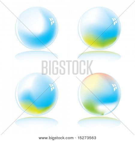 Four marbles with a colour variation with drop shadow