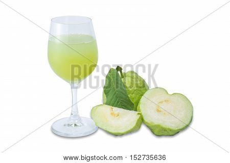 Guava juice and fresh Guava fruit isolated on white background