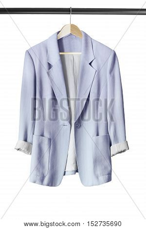 Elegant silk jacket on wooden clothes rack isolated over white