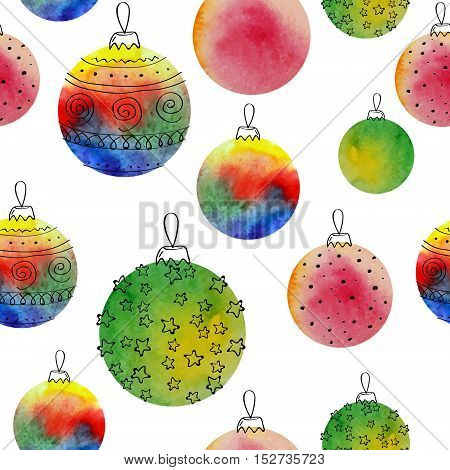 Vector watercolor balls seamless pattern With hand drawn elementss. Can be used for web pages, printing, textile, wrapping etc. On white background groupes and isolated