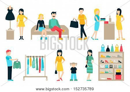 Vector shopping and shipping flat icons set. Mall Staff, Happy Buyers Isolated On White Background, Furniture, Clothes, Wardrobe, People Vector Illustration, Graphic Editable For Your Design