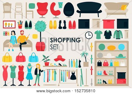 Shopping Big Collection in flat design background concept. Infographic Elements Set With Mall Staff Clothes And Furniture People Interior Objects