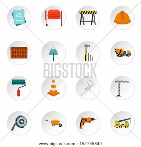 Construction icons set. Flat illustration of 16 construction vector icons for web