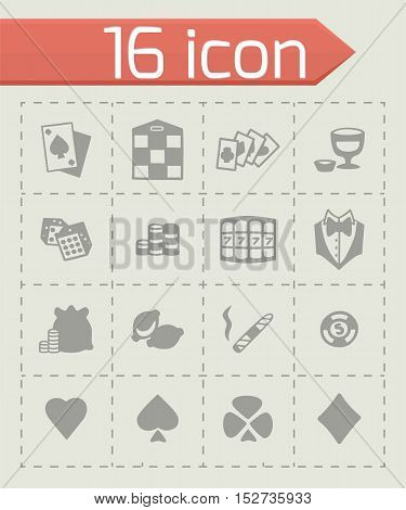 Vector Casino icon set on grey background