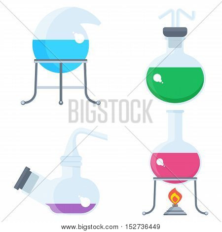 Set of chemilal equipment. Test tube and flack chemical burner laboratory liquid. Flat vector cartoon chemical illustration. Objects isolated on a white background.