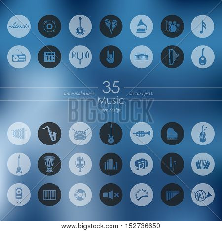 music modern icons for mobile interface on blurred background