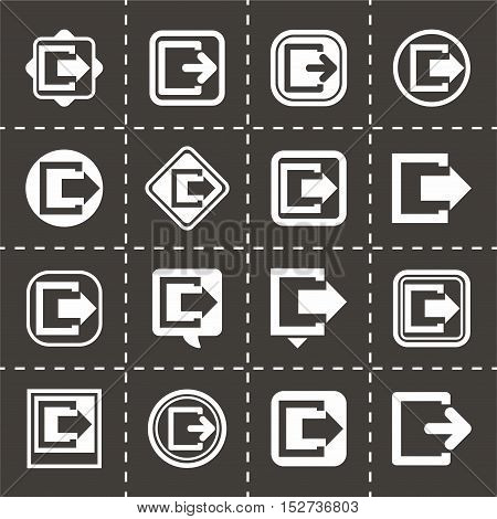 Vector Exit icon set on black background