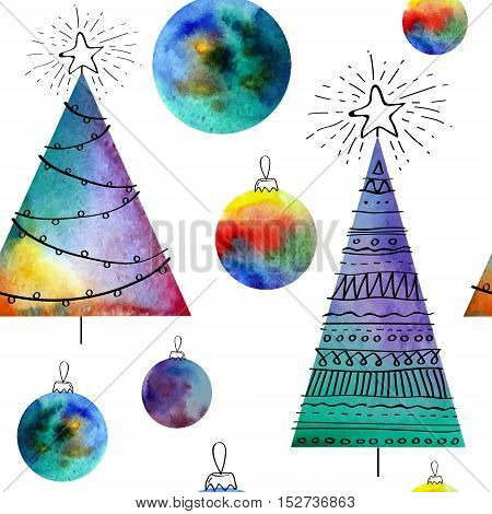 Vector watercolor balls and christmas tree seamless pattern With hand drawn elementss. Can be used for web pages, printing, textile, wrapping etc. On white background grouped
