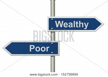 Being Wealthy versus Being Poor Two Blue Road Sign with text Wealthy and Poor isolated over white 3D Illustration