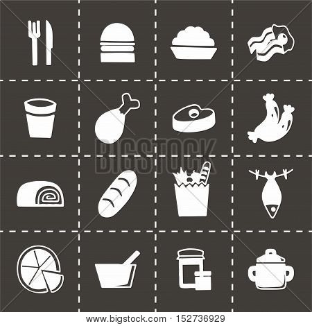 Vector Food icon set on black background
