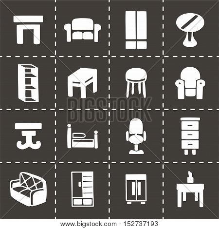 Vector Furniture icon set on black background