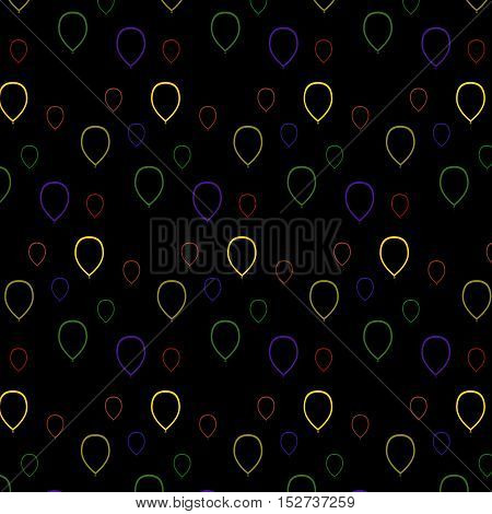 Vector illustration seamless pattern Multicolored balloons contours. On a black background