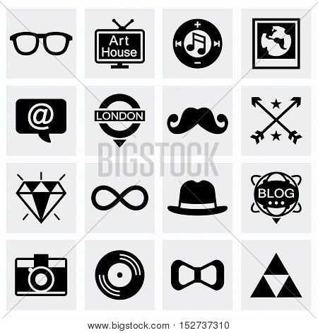 Vector Hipster icon set on grey background