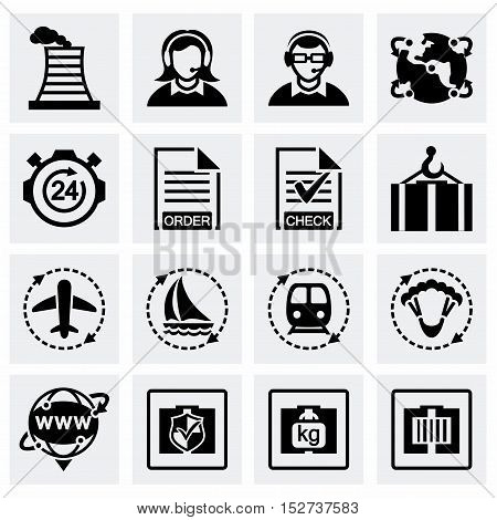 Vector Logistic icon set on grey background