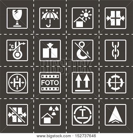 Vector Marking of cargo icon set on black background