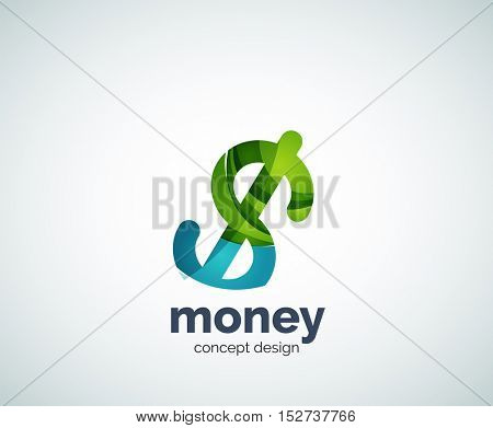 dollar logo template, abstract business icon