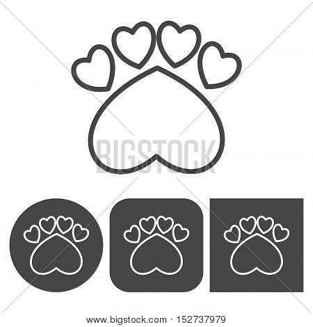 Paw Print - vector icons set, black and white