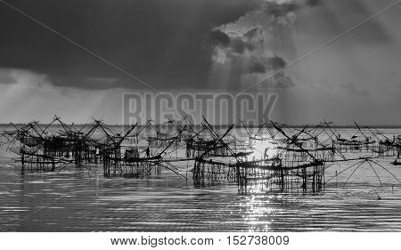 Many square dip net during sunrise at Pakpra Phatthalung Thailand