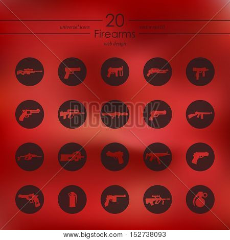firearms modern icons for mobile interface on blurred background