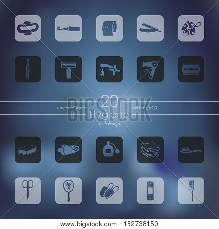 hygiene modern icons for mobile interface on blurred background