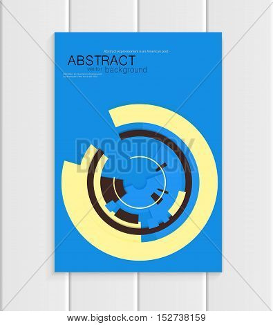 Stock vector brochure in abstract style. Design business templates with yellow rounds, black rectangular shapes on blue background for printed materials, elements, web sites, cards, covers, wallpaper