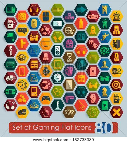 Set of gaming flat icons for Web and Mobile Applications