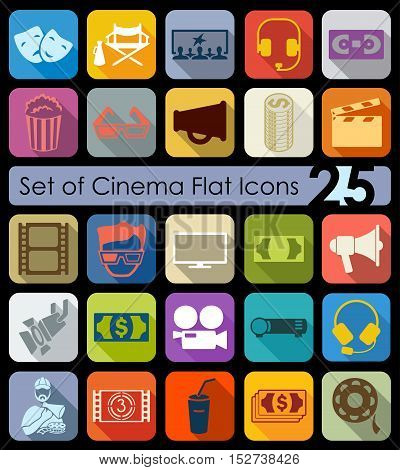 Set of cinema flat icons for Web and Mobile Applications