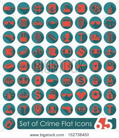 Set of crime flat icons for Web and Mobile Applications