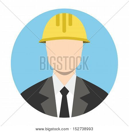 Engineer Architect Business Man Isoalated Circle Flat Icon Vector Stock - Business Man Architect Yellow Builder Helmet