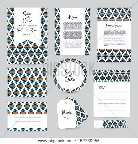 Vector gentle wedding cards template with hipster ethno design. Wedding invitation or save the date RSVP menu and thank you card for bridal design. Vector set of postcard with geometric decoration.
