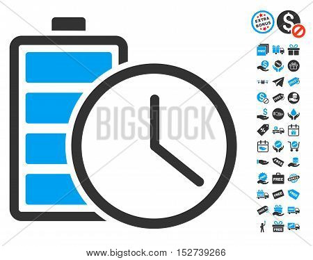 Battery Time icon with free bonus clip art. Vector illustration style is flat iconic symbols, blue and gray colors, white background.