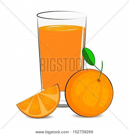 Vector illustration of glass with orange juice and oranges