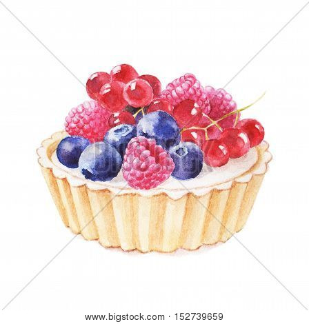 Tartlet with fruit hand drawn watercolor illustration on white background.