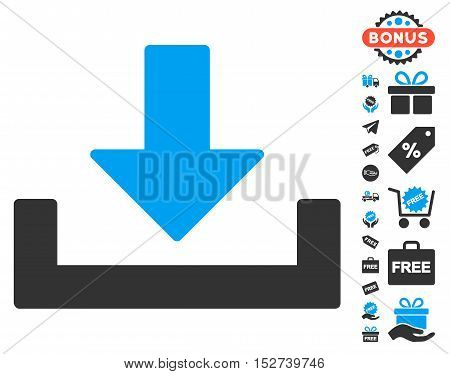 Download icon with free bonus clip art. Vector illustration style is flat iconic symbols, blue and gray colors, white background.