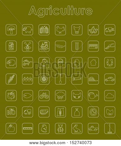 It is a set of agriculture simple web icons