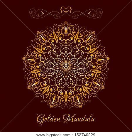 Vector Gold Color Flower Mandala over dark brown. Elements for your designs, invitation card, yoga, meditation, astrology and other projects. Arabic, asian motifs.