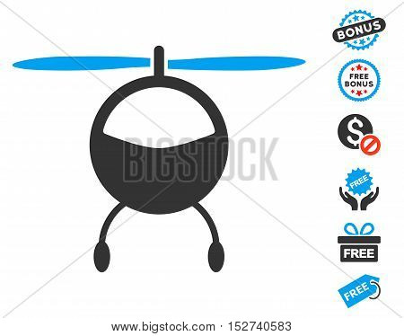 Helicopter icon with free bonus icon set. Vector illustration style is flat iconic symbols, blue and gray colors, white background.