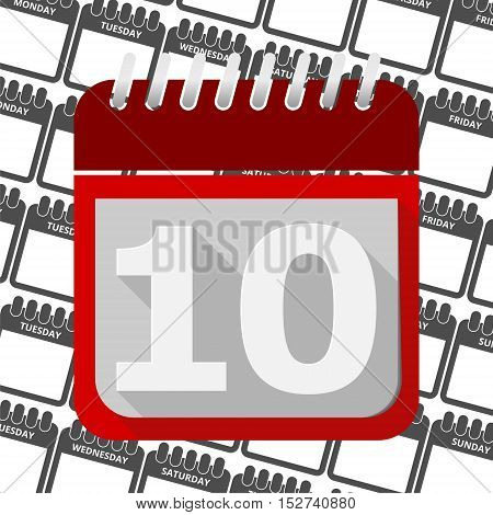 Red Calendar - Vector Icon number 10