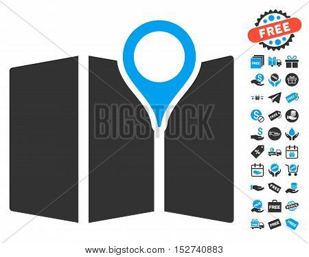 Map pictograph with free bonus pictograph collection. Vector illustration style is flat iconic symbols, blue and gray colors, white background.