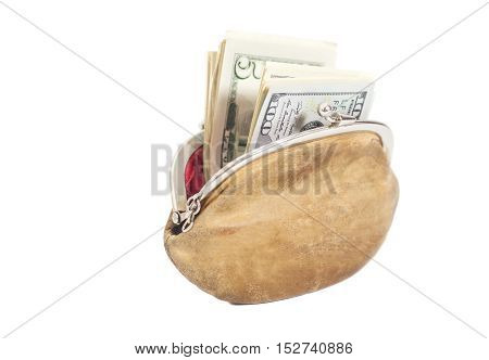Purse with Dollar Bills isolated on white