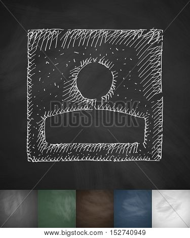 avatar box icon. Hand drawn vector illustration. Chalkboard Design