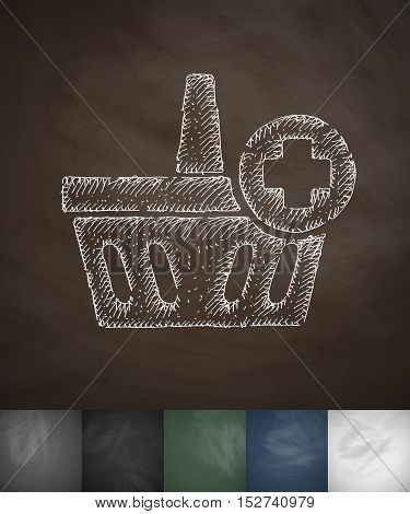 add to basket icon. Hand drawn vector illustration. Chalkboard Design