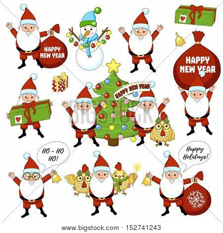 Set of colorful christmas characters and decorations. Happy new year big set with christmas tree, gift, bell, cock, rooster, snowman. Funny cartoon big collection.