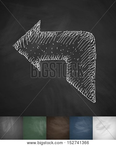 return icon. Hand drawn vector illustration. Chalkboard Design