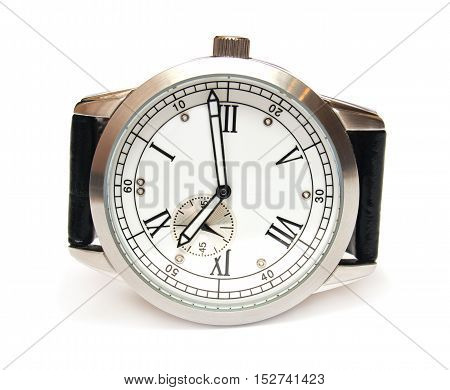 Men's mechanical watch isolated on white background. Flat.