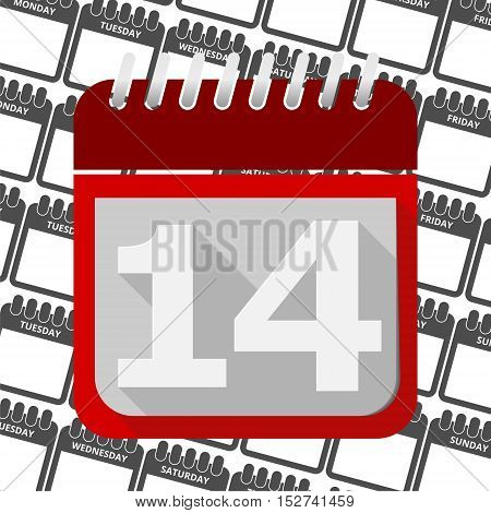 Red Calendar - Vector Icon number 14