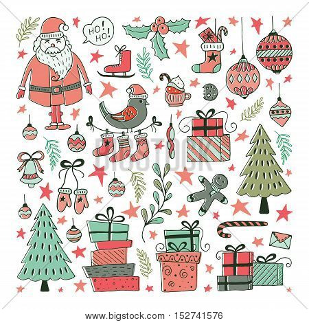 Vector Set of hand drawn Christmas illustrations. Clipart collection with Santa Claus Christmas ball gifts christmas tree. Vector elements for Xmas design.